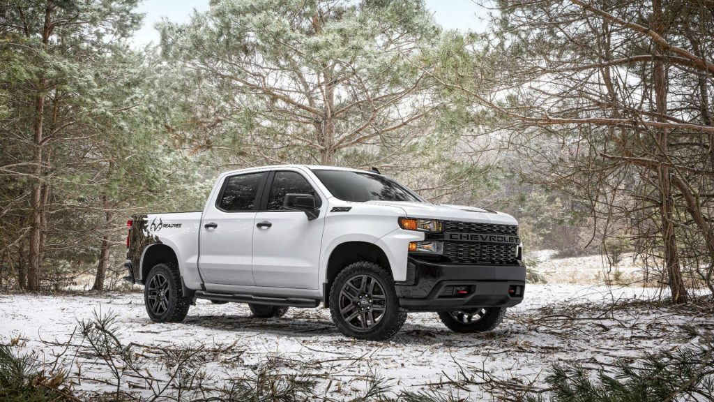 The 2021 Chevy Silverado Realtree Edition in the woods