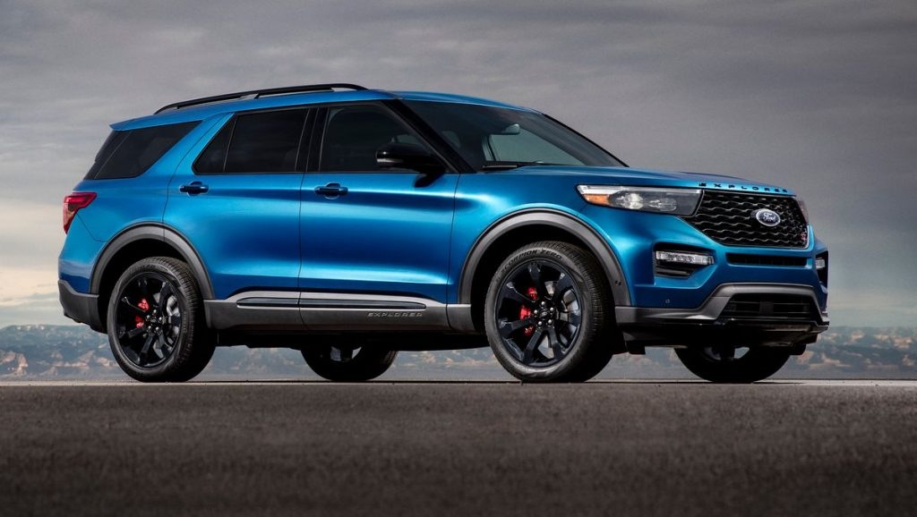 A blue 2021 Ford Explorer on display