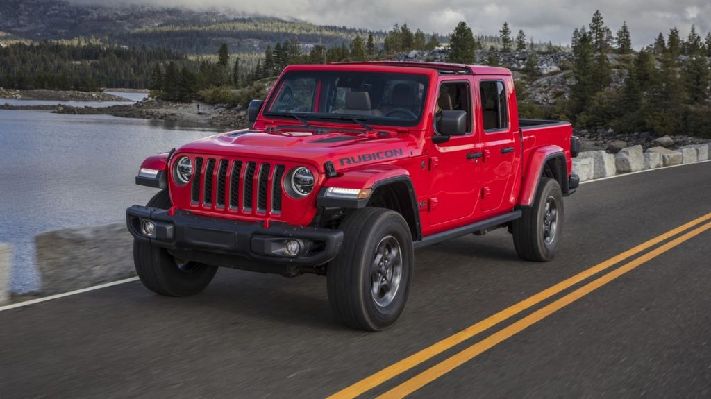 A red 2021 Jeep Gladiator on the road