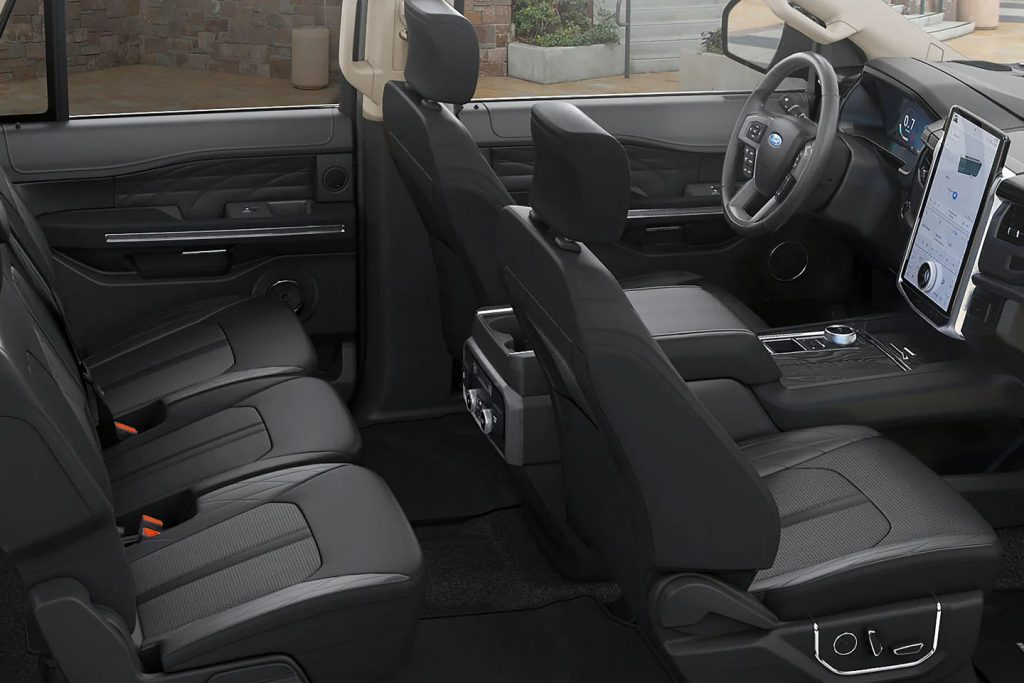 Black interior seating of a 2022 Ford Expedition