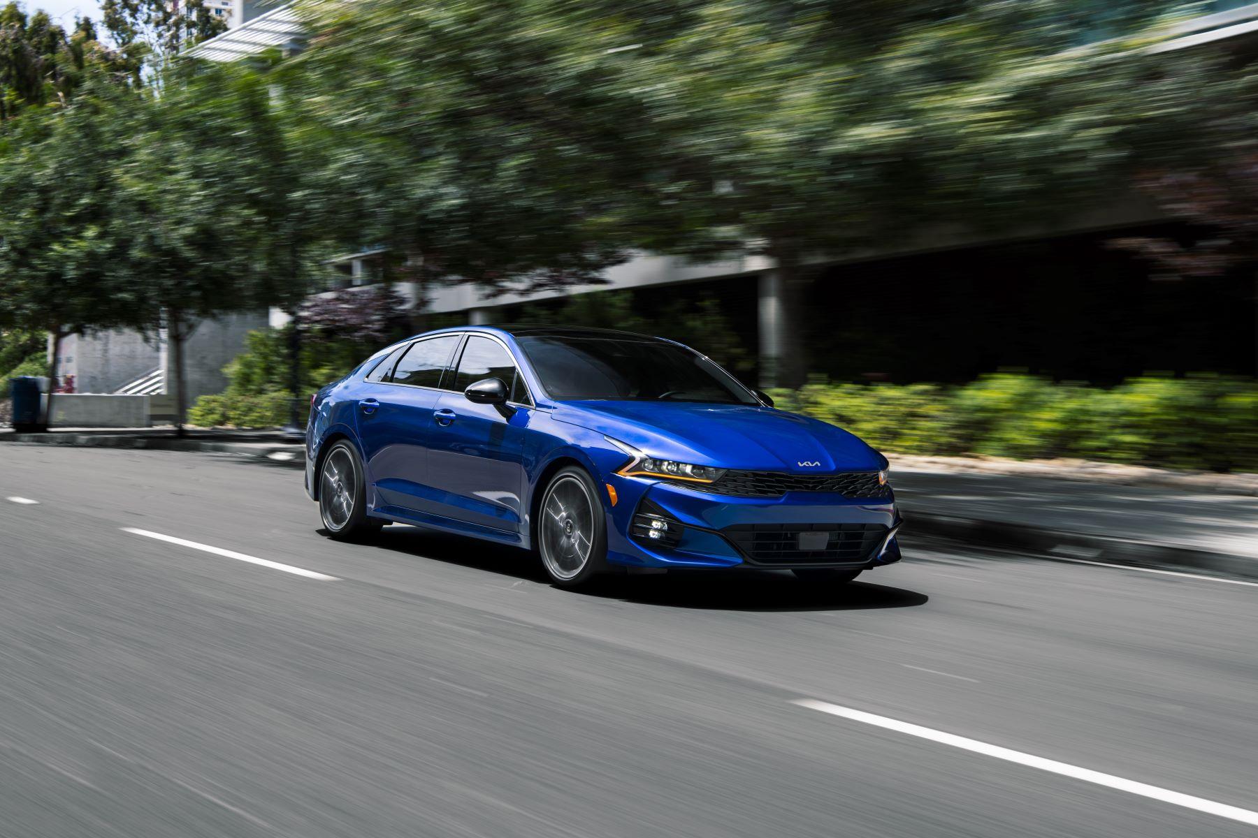 The 2022 Kia K5 midsize sedan in blue