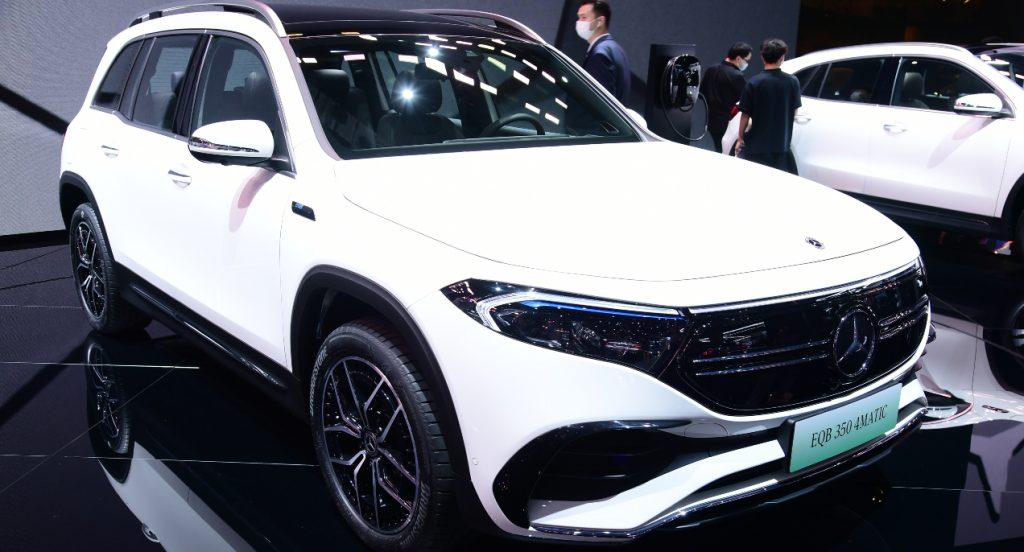 A white Mercedes-Benz EQB.