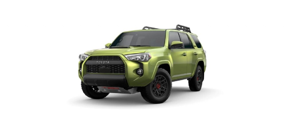 A lime green 2022 Toyota 4Runner TRD Pro against a white background.