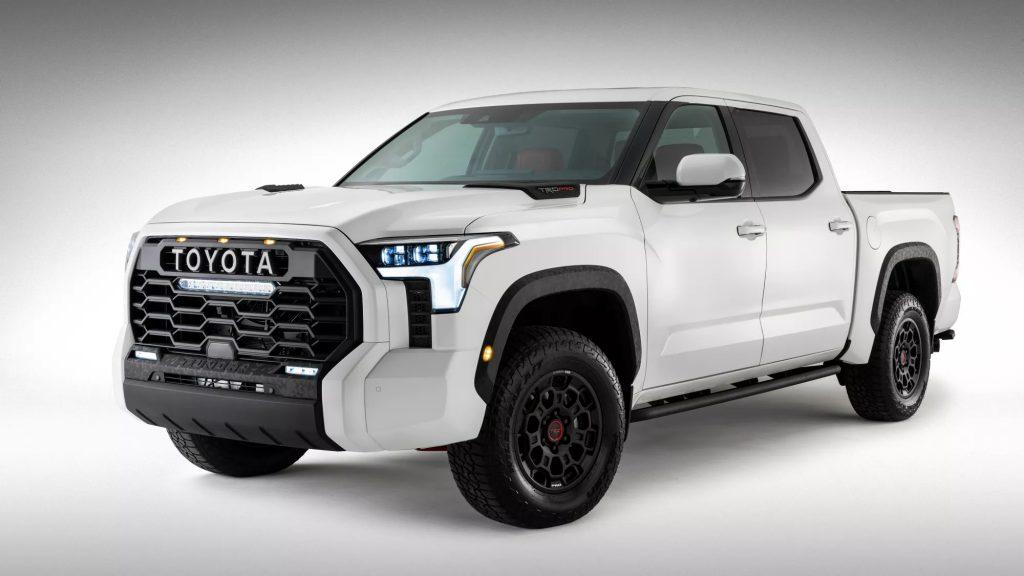 white 2022 Toyota Tundra on white background