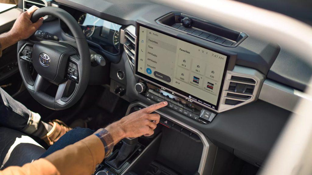 The interior of a new 2022 Toyota Tundra