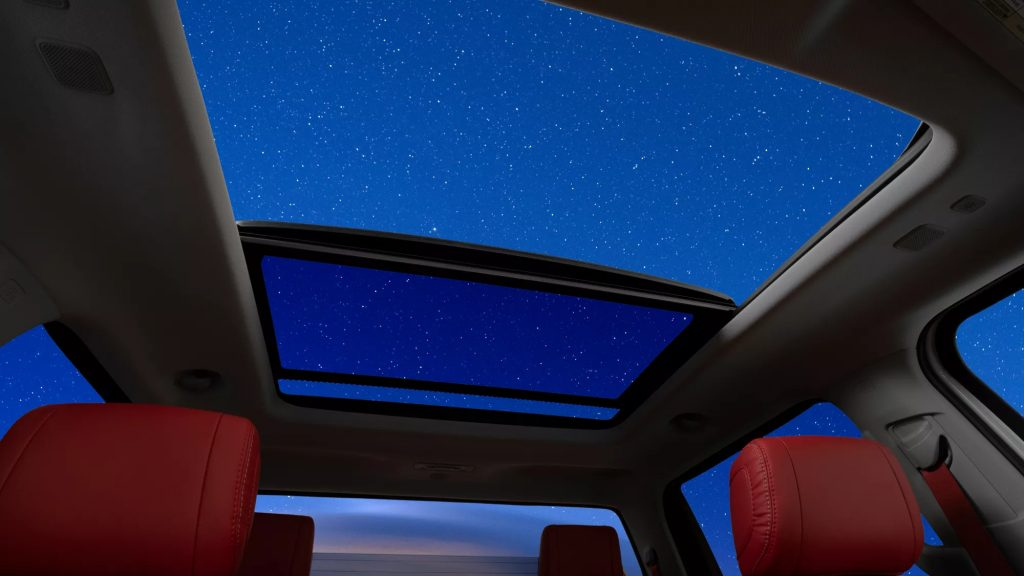 2022 toyota tundra panoramic sunroof open at night