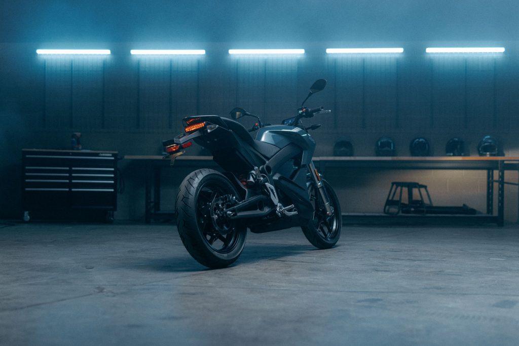 The rear 3/4 view of a dark-blue 2022 Zero S in a garage