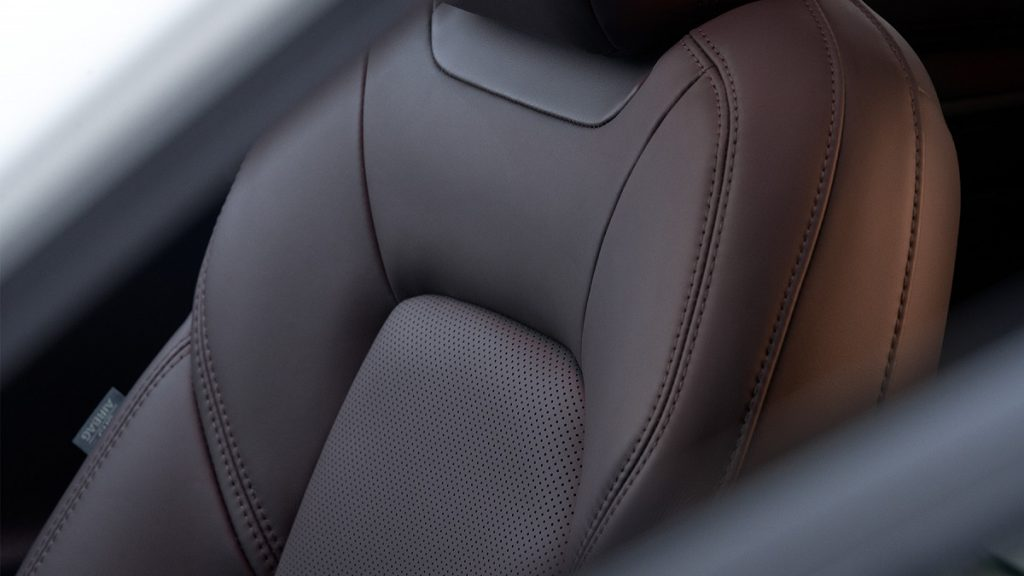 The black leather seat of a 2022 Mazda CX-5.