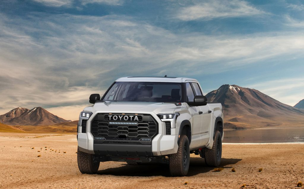 2022 Toyota Tundra TRD Pro. Instead of an electric Toyota Tundra, the automaker engineered this TRD Pro with a next generation internal combustion powertrain: the i-FORCE MAX, a better bet for global markets than an EV | Toyota