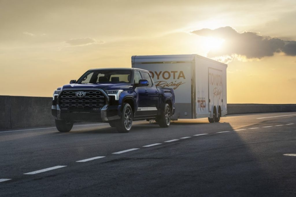 This is a promo photo of a Tundra Platinum towing. The 2022 Toyota Tundra towing capacity is 12,000 pounds.