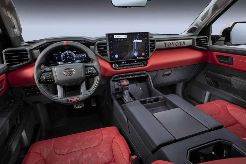 This is a promo photo of a 2022 Toyota Tundra TRD Pro interior. This high-speed offroad truck is a cost-effective Ford Raptor