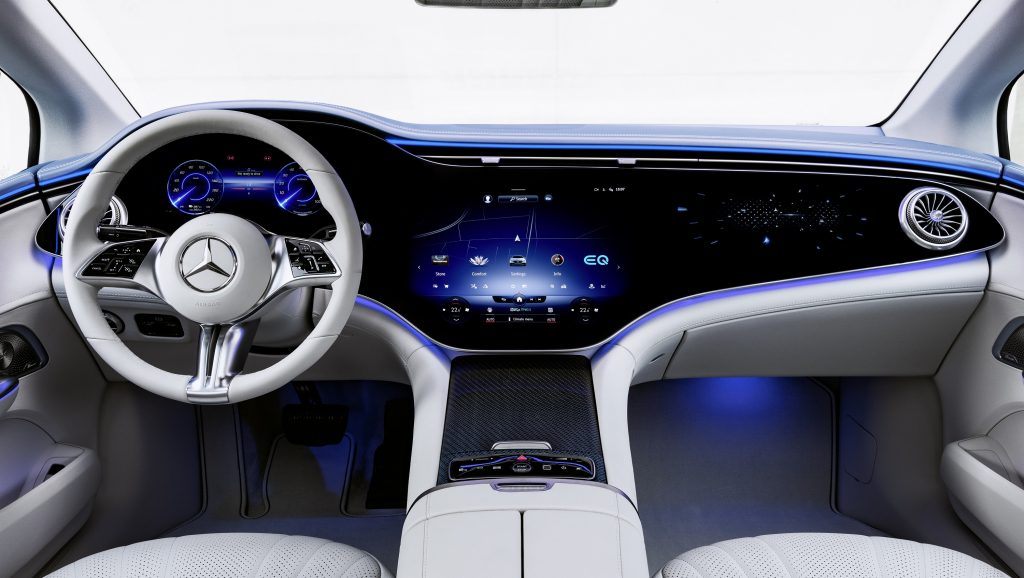 The new Mercedes Hyperscreen in the EQE sedan, comprised of three screens across the dash of the new sedan