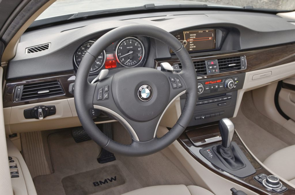 The interior of an E92 3 Series with tan leather