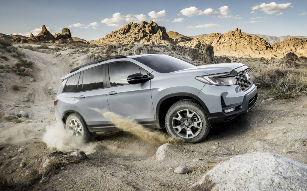 The 2022 Honda Passport TrailSport kicking up dirt
