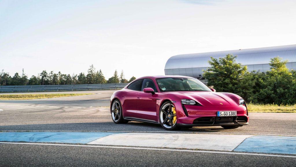 A hot pink Porsche Taycan.