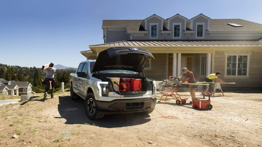 2022 Ford F-150 Lightning Value Pro. Pre-production model with available features shown. Available starting spring 2022. Competitive price with the Tesla Cybertruck.