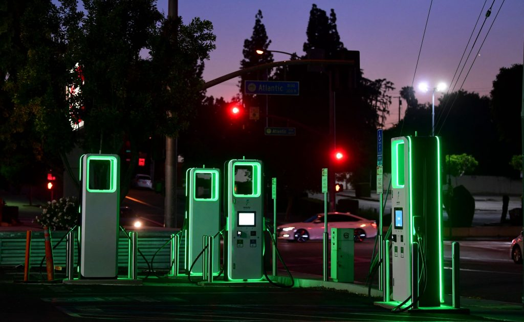 A green-lit public EV charging station in a Ralph's supermarket parking lot in Monterey Park, California