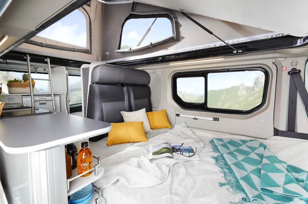 Here is a pic pf the bed unfolded in this affordable RV