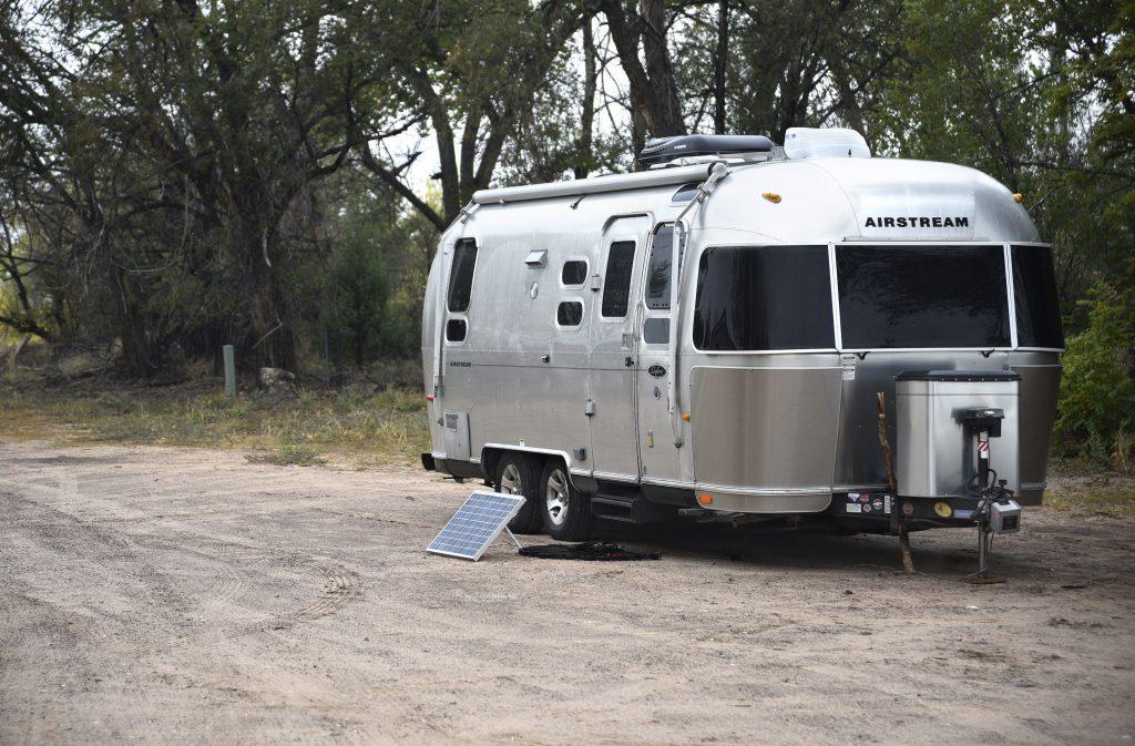 Airstream Trailer Parked On Gravel RV Parking Spot