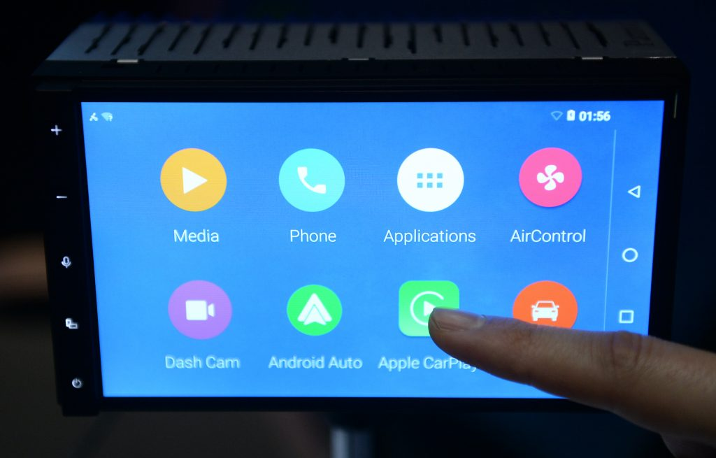 The 'Parrot RNB 6' combining Apple CarPlay and Android Auto is presented at the CESelectronics and consumer technology tradeshow.