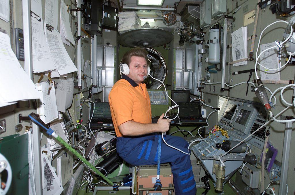 Astronaut Working Inside ISS