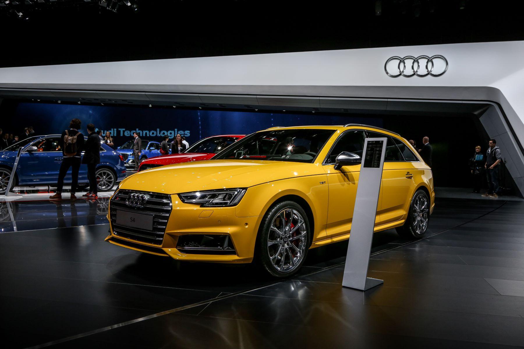 An Audi S4 model in yellow gold at the 86th Geneva International Motorshow