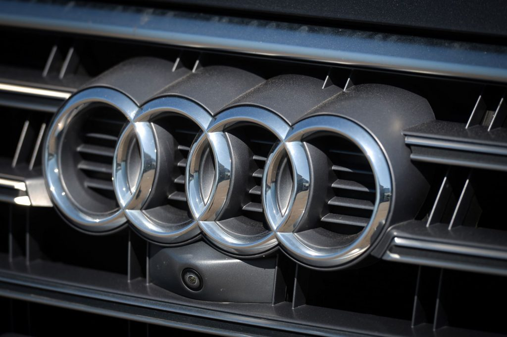 Audi logo on the grill of a vehicle