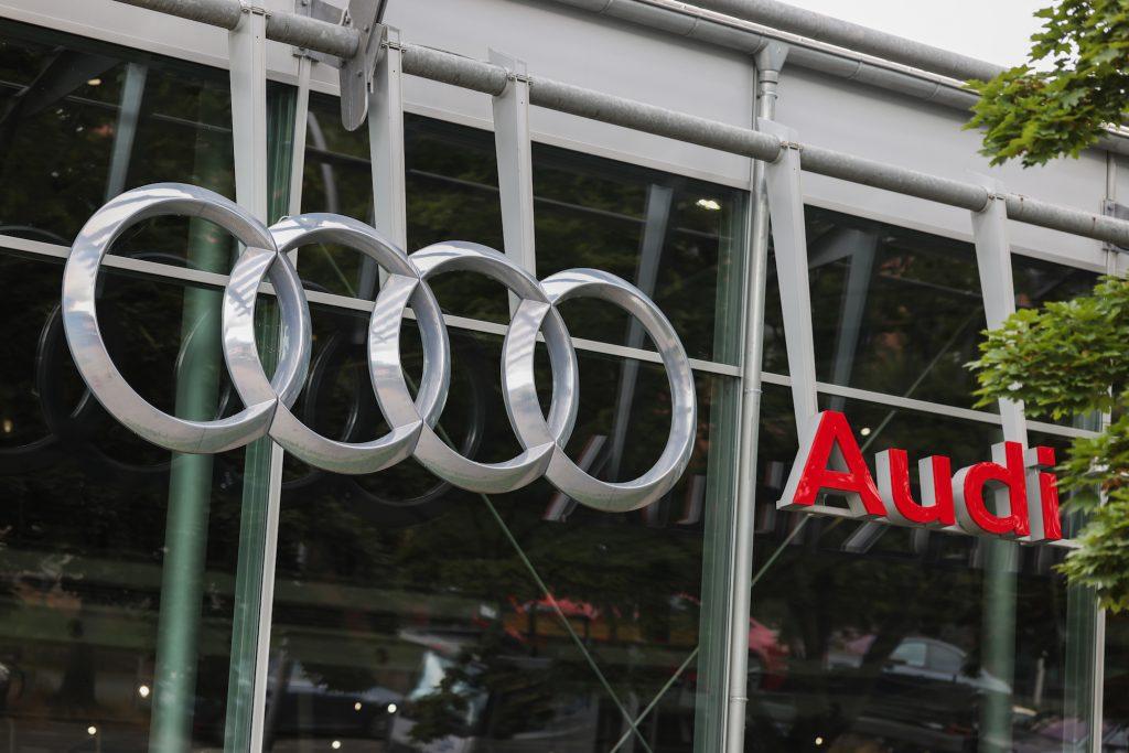 An Audi logo on a car dealership in Berlin, Germany, in July 2021