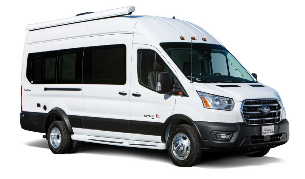 Coachmen Beyond against a white back ground showcasing its exterior