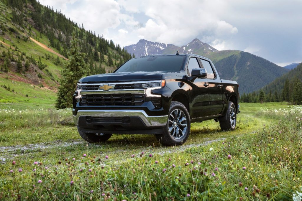 Black 2022 Chevrolet Silverado with mountains in the background