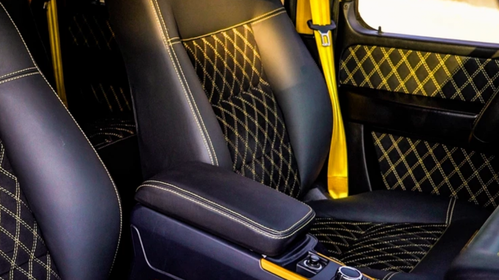 Black and yellow front seats in Mercedes-Benz G-Class G-Boss