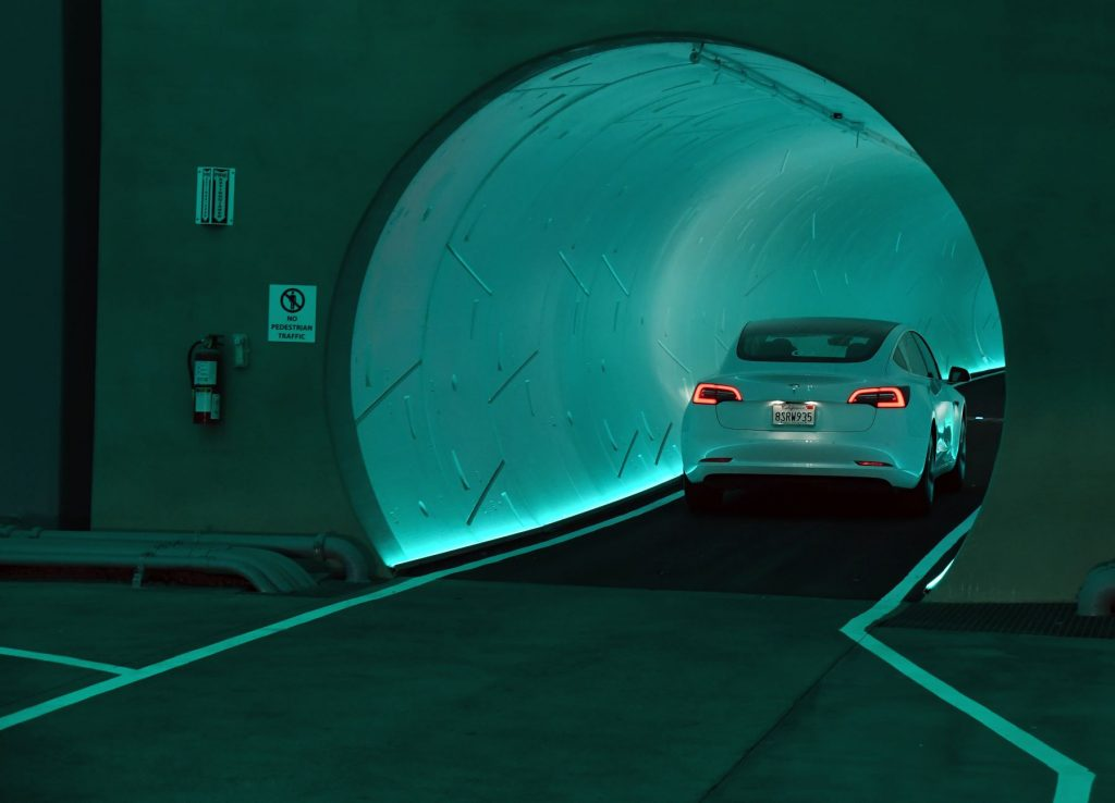 A Tesla car entering the Las Vegas Loop from Elon Musk's The Boring Company