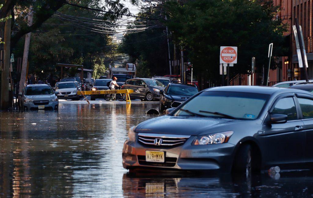 Cars on Flooded City Street