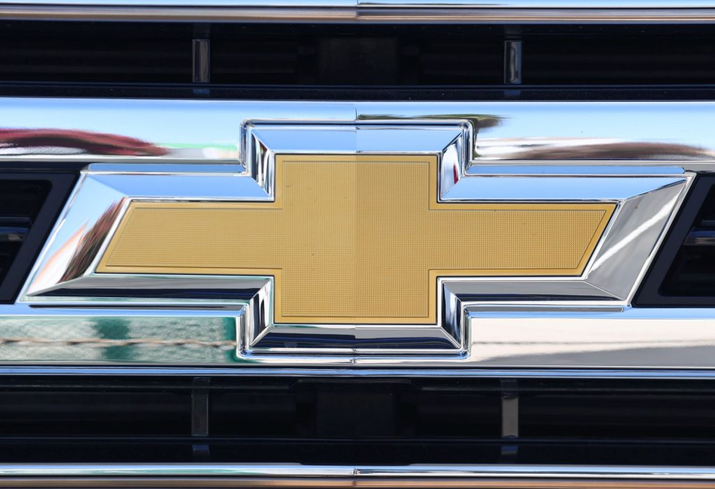 The traditional logo, similar to what is on the Chevy Equinox, on the front grille.