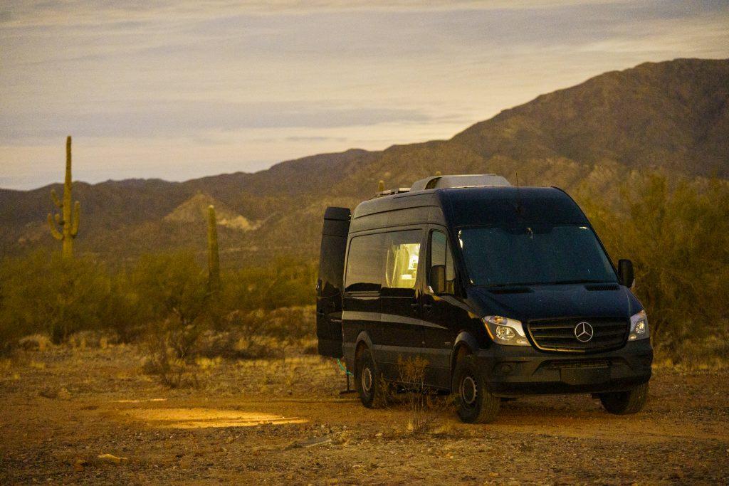 Class B Camper Van Parked in Desert