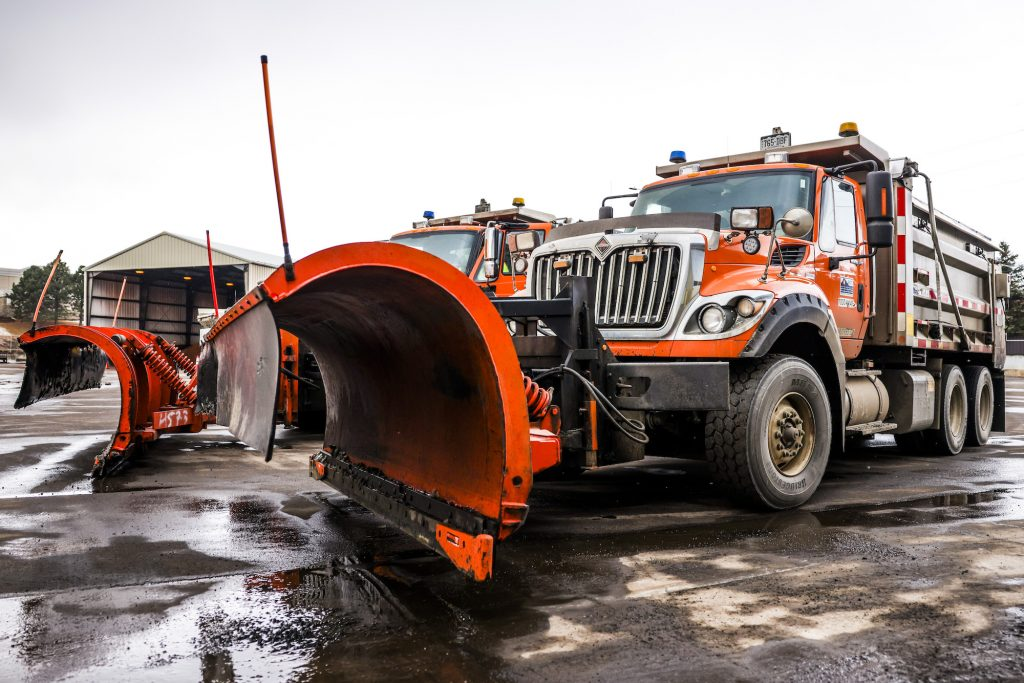 Colorado DOT snow plows prepare for a winter storm in March 2021 in Golden