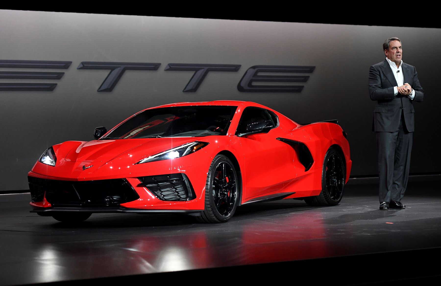 The 2020 Corvette C8 presented by General Motors president Mark Reuss during a news conference in Tustin, California