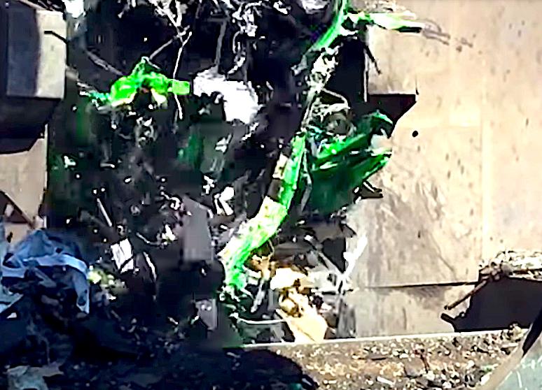 Crushed BMW M3 wagon remains