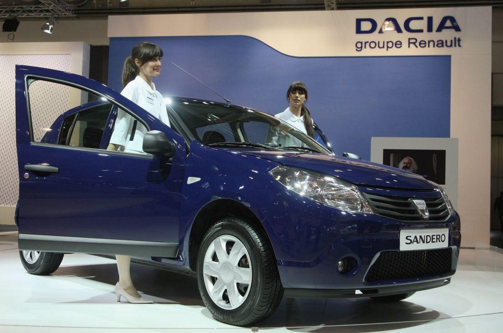 The Dacia Sandero compact car model at the AMI 2009 Leipzig Motor Show