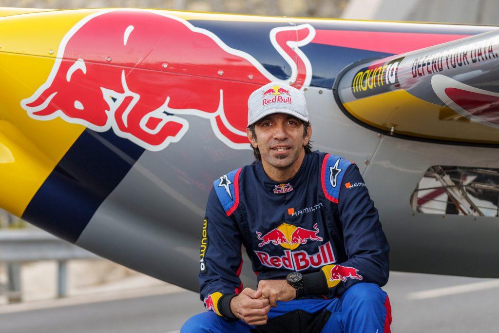 Dario Costa Posed In Front Of Red Bull Stunt Plane