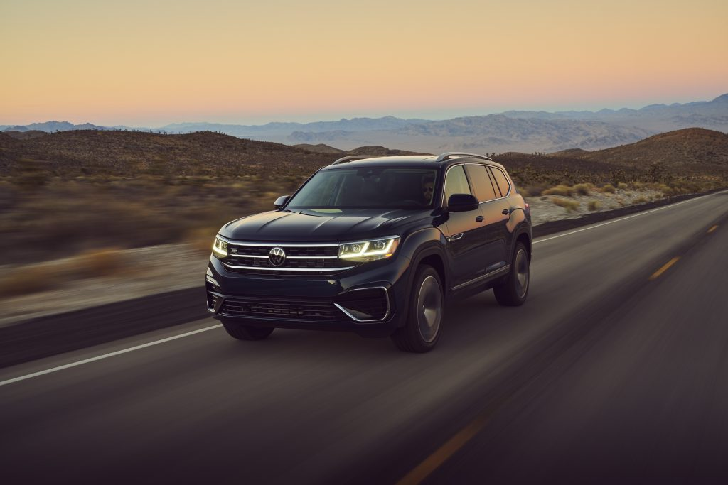 Dark blue 2022 Volkswagen Atlas with the sunset in the background