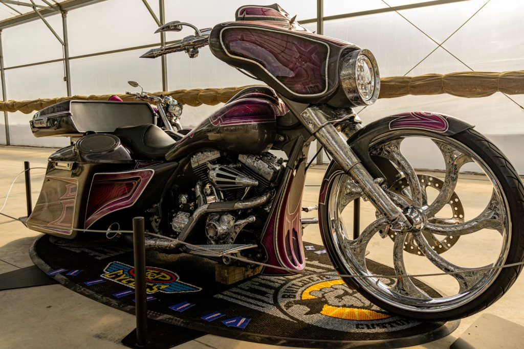 The side 3/4 view of David Moreno's custom purple-and-black 2013 Harley-Davidson Street Glide