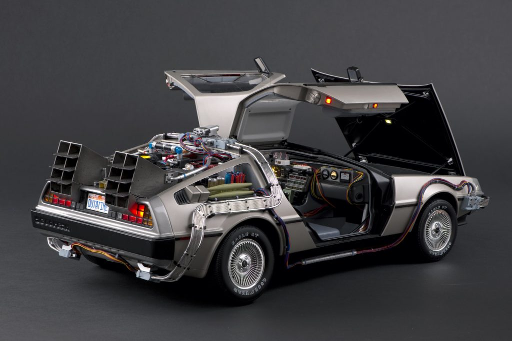The stainless steel 1981 DeLorean DMC-12 with its doors open.