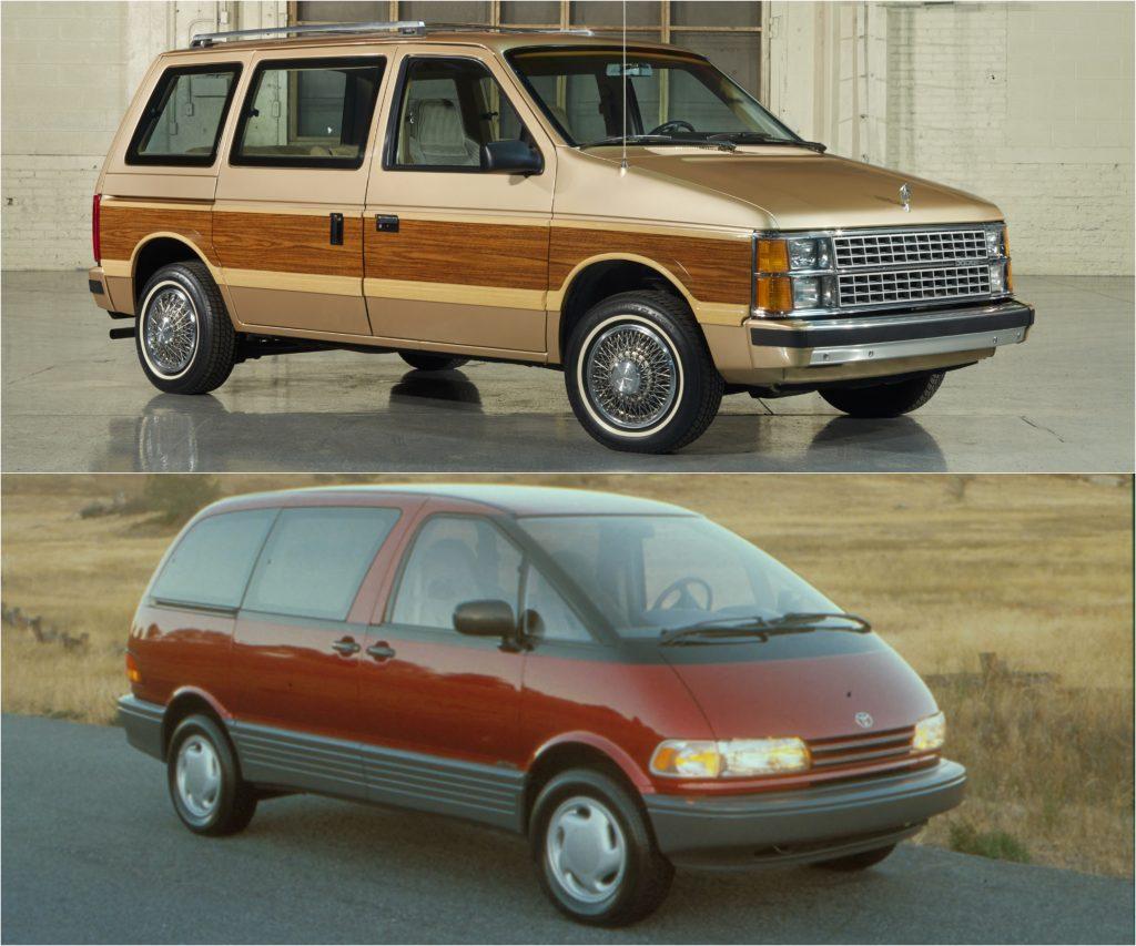 Dodge Caravan Minivan (Top) and Toyota Previa (Bottom)