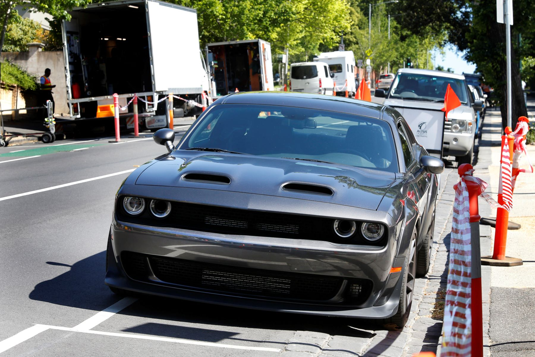A Dodge Challenger Hellcat model used as a prop during filming for a Liam Neeson movie