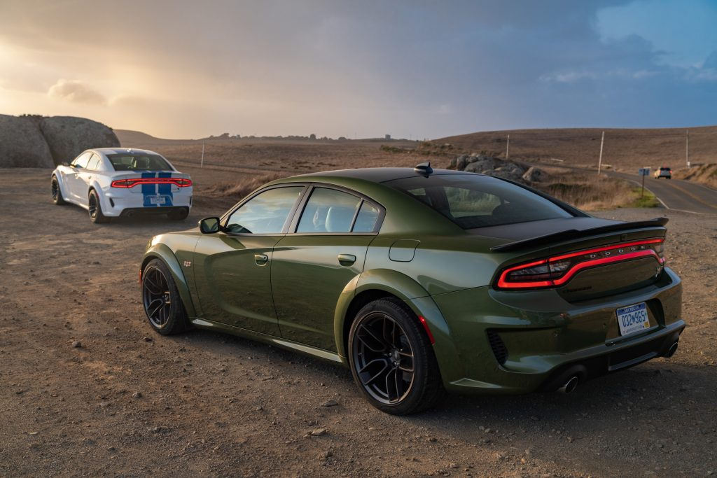 2021 Dodge Charger Scat Pack Widebody (left) and 2021 Dodge Char