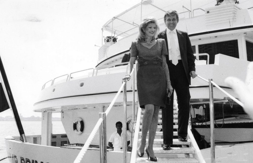 A black and white photo of Donald Trump and Ivanka Trump onboard the 'Trump Princess'