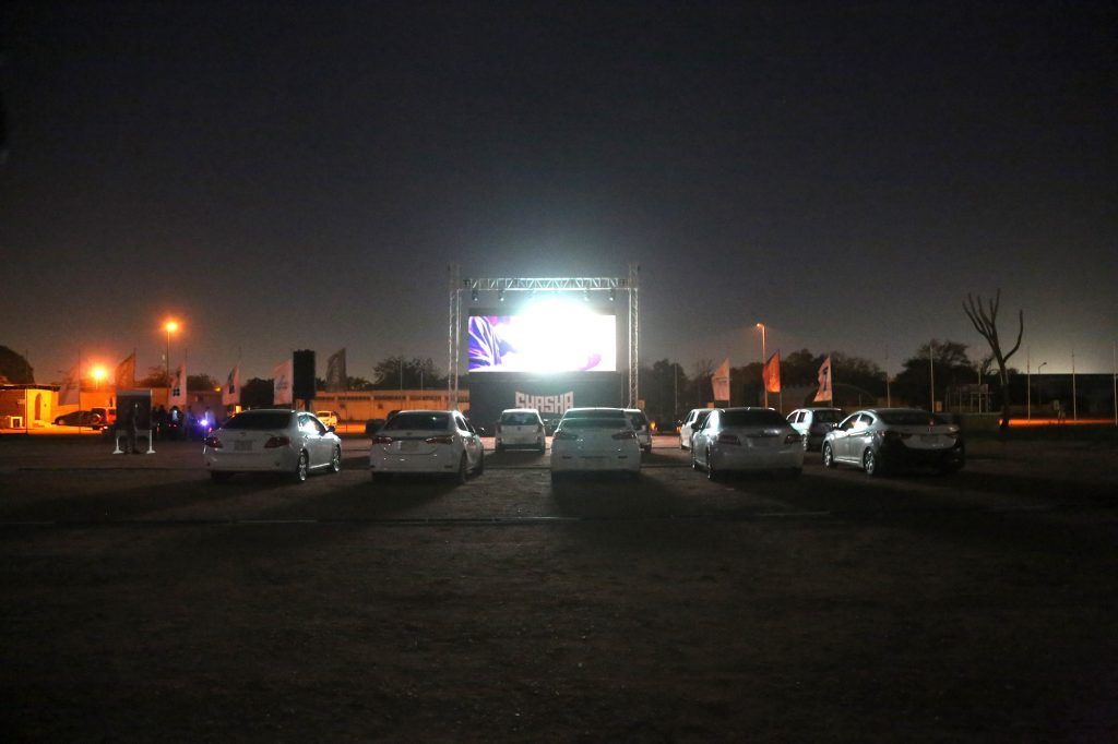 Cars at a drive-in movie theater during the COVID-19 pandemic