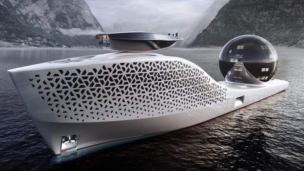 a rendering of the world's first nuclear ship meant to save the world via oceanic research