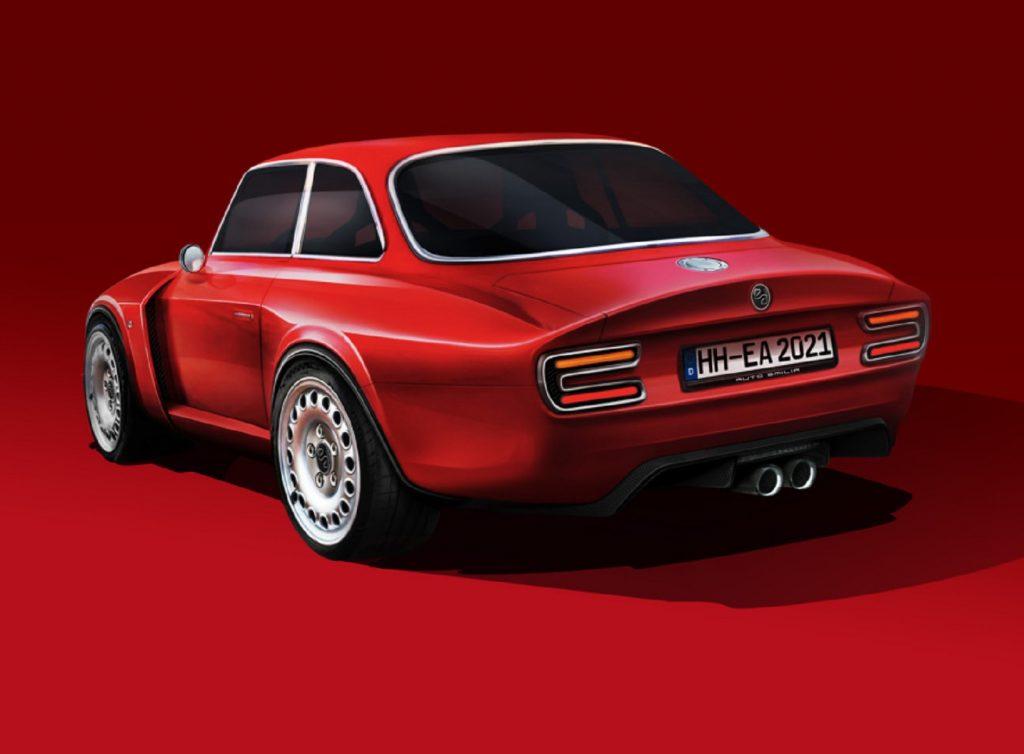 The rear 3/4 view of a red Emilia Auto Alfa Romeo Giulia GT Veloce restomod